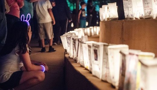 Luminarias were decorated with family members names who have died, survived, still battling or support someone who has cancer. They were lit during the Luminaria Ceremony Friday evening at the Relay For Life event on June 15, 2018 at the McKinley County Courhouse Square.