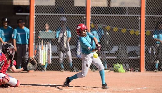 Callista Shepherd batting for Turquoise Nation in the first round of the Little League State Softball Tournament at Gallup High School, Friday July 6.