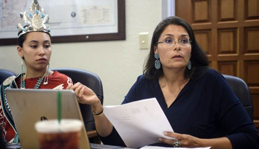"""Sonlatsa """"Sunshine"""" Jim-Martin, right, and Zunneh-bah Martin at the first meeting of the Indigenous Peoples Commission, Wednesday evening at City Hall."""