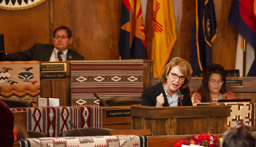 Arizona 1st District Republican Congressional candidate Lt. Col. Wendy Rogers, address the Navajo Nation Council during the Fall Session in Window Rock.
