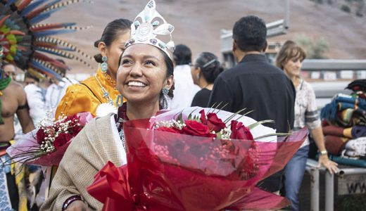 Ashley Reine Claw looks up at the crowd at Red Rock Park after being crowned the 2018-2019 Miss Gallup Inter-Tribal Ceremonial Queen, Friday August 10, 2018.